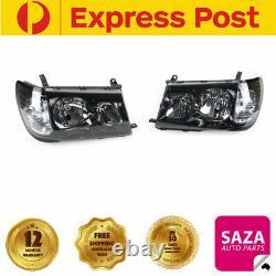 Pair Black Performance Headlights Left & Right for Toyota LandCruiser 100 series
